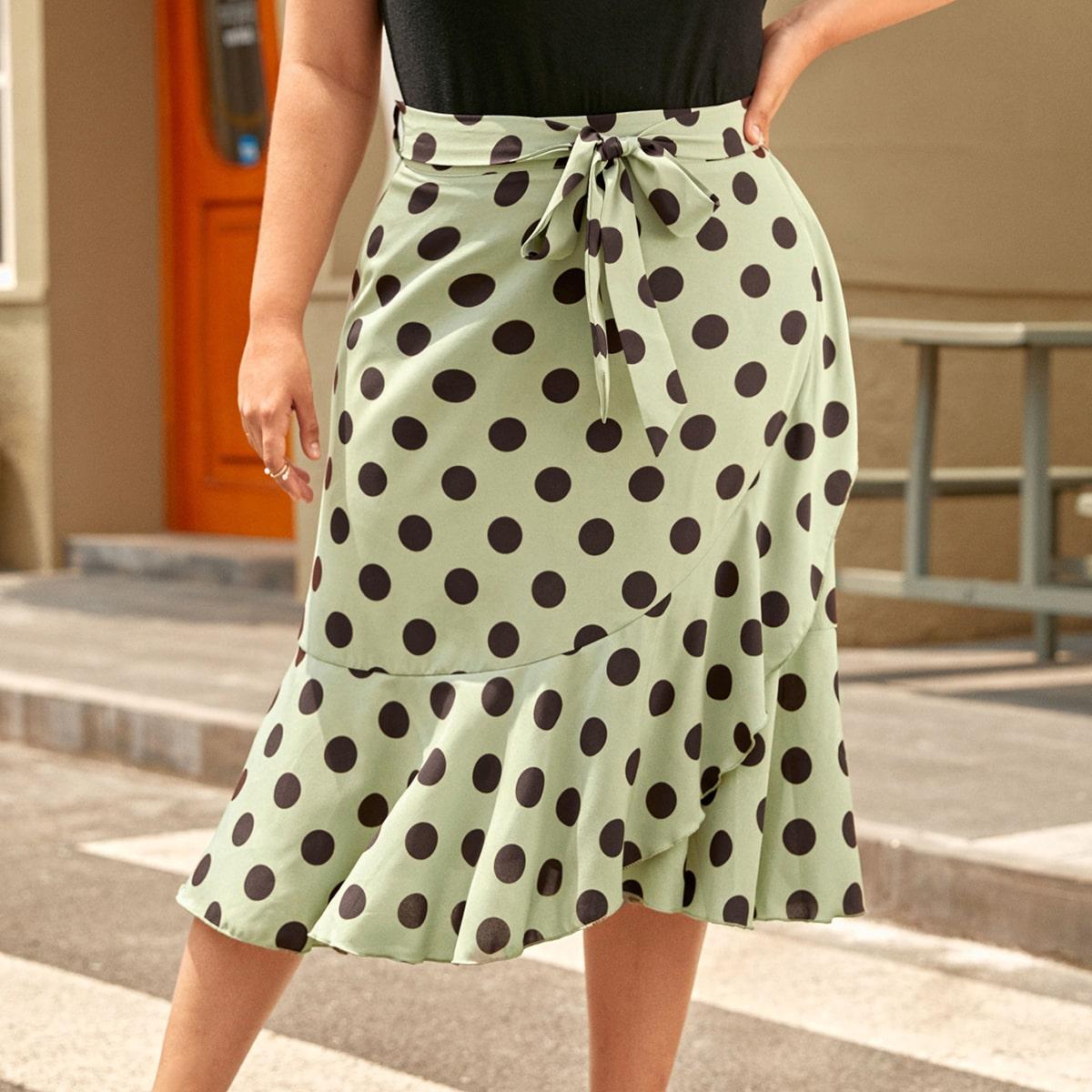 Plus Polka Dot Self Tie Wrap Skirt, SHEIN  - buy with discount