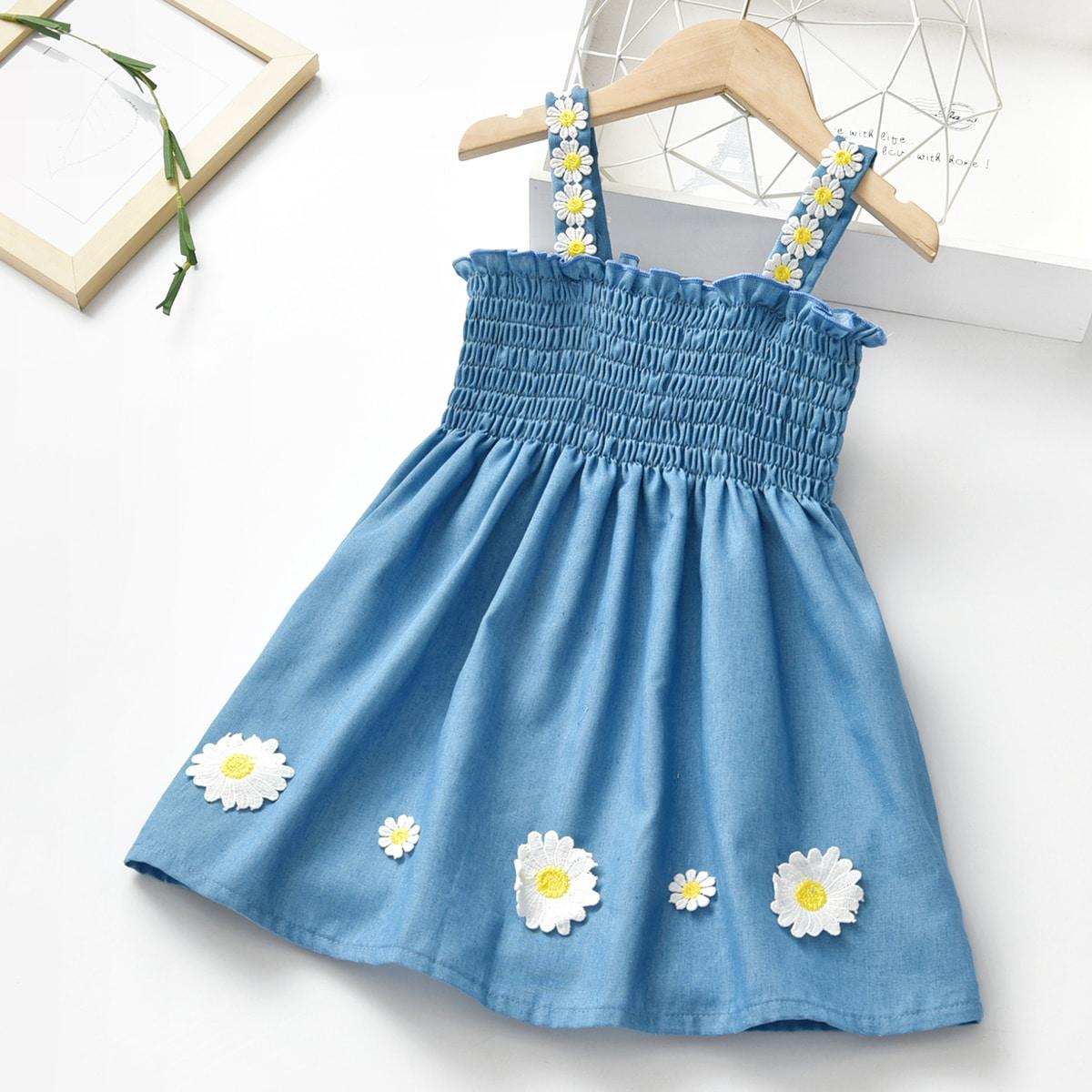 для девочек Джинсовое платье на бретельках цветочным рисунком заплатка SheIn skdress25210514867