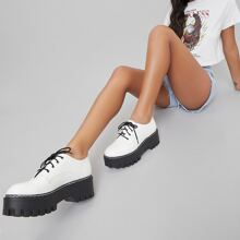 Faux Leather Lace-Up Lug Platform Oxford Shoes
