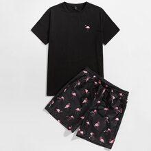 Guys Flamingo Print Top & Shorts Set