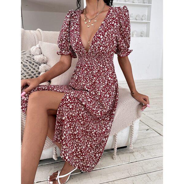 Ditsy Floral Shirred Plunging Split Thigh Dress, Burgundy