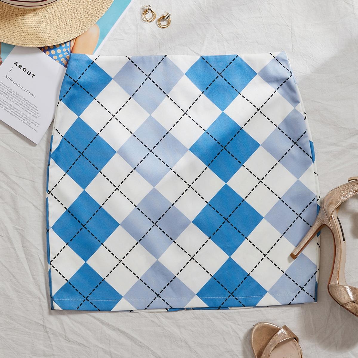 Argyle Print Mini Skirt