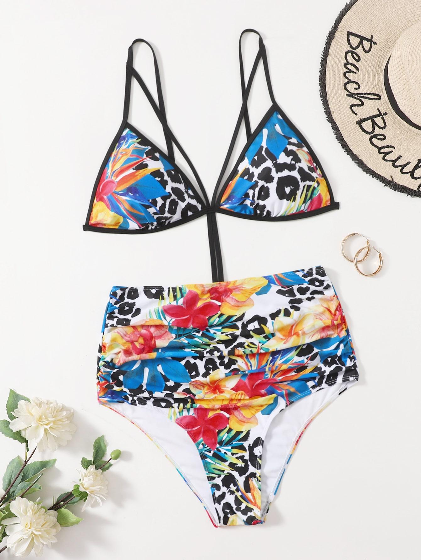Plus Floral & Leopard Cut-Out One Piece Swimsuit