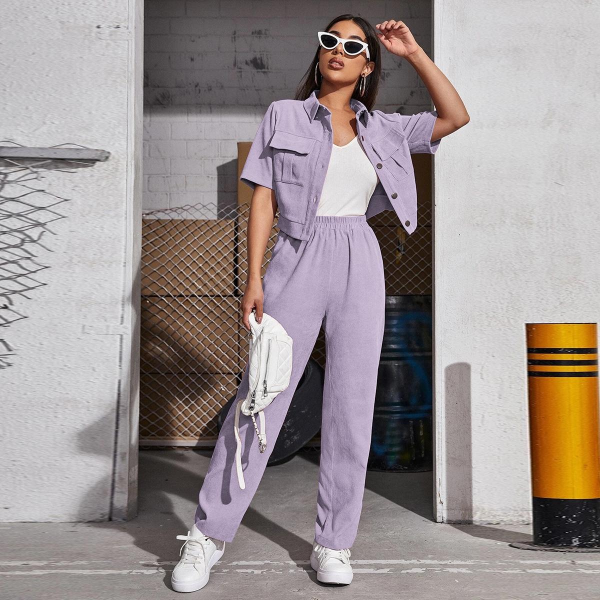 Вельветовая блузка с карманом и брюки SheIn swtwop25210331513