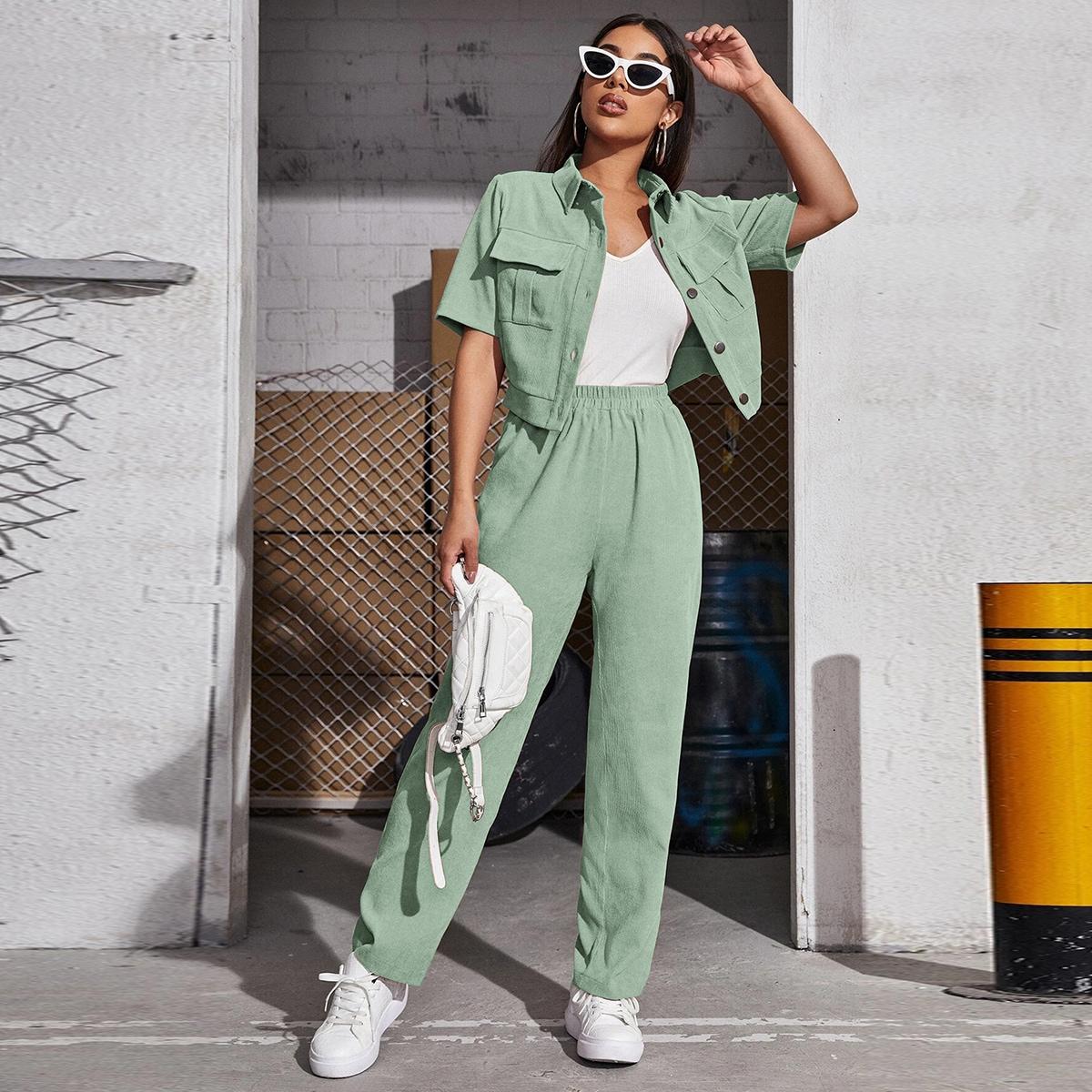 Вельветовая блузка с карманом и брюки SheIn swtwop25210331726