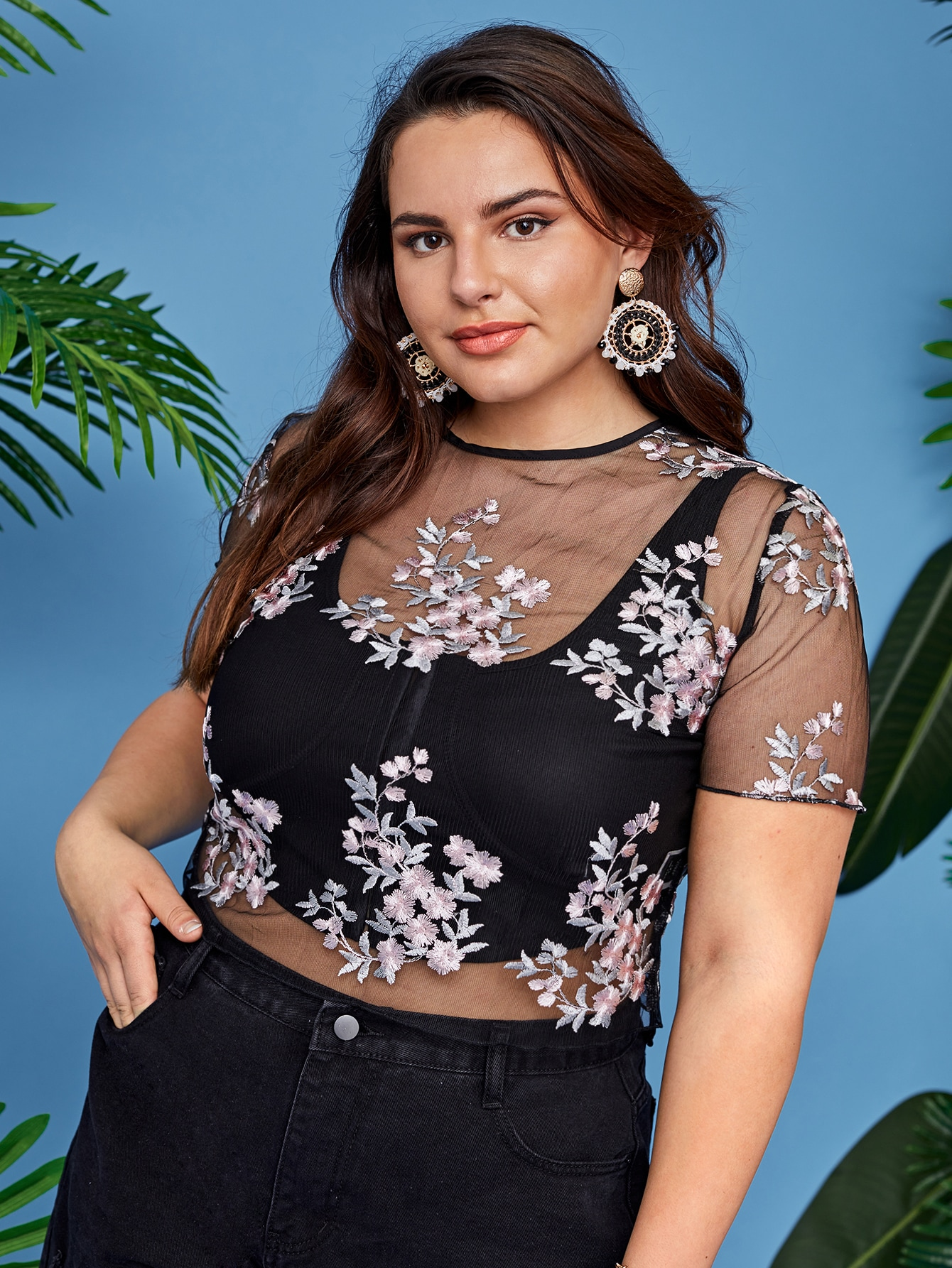 Plus Floral Embroidered Mesh Top Without Tank