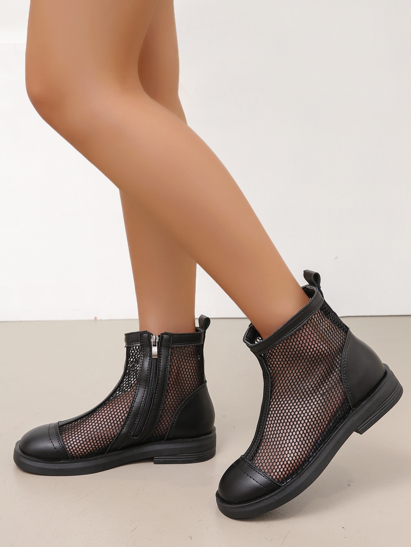 Side Zipper Mesh Ankle Boots