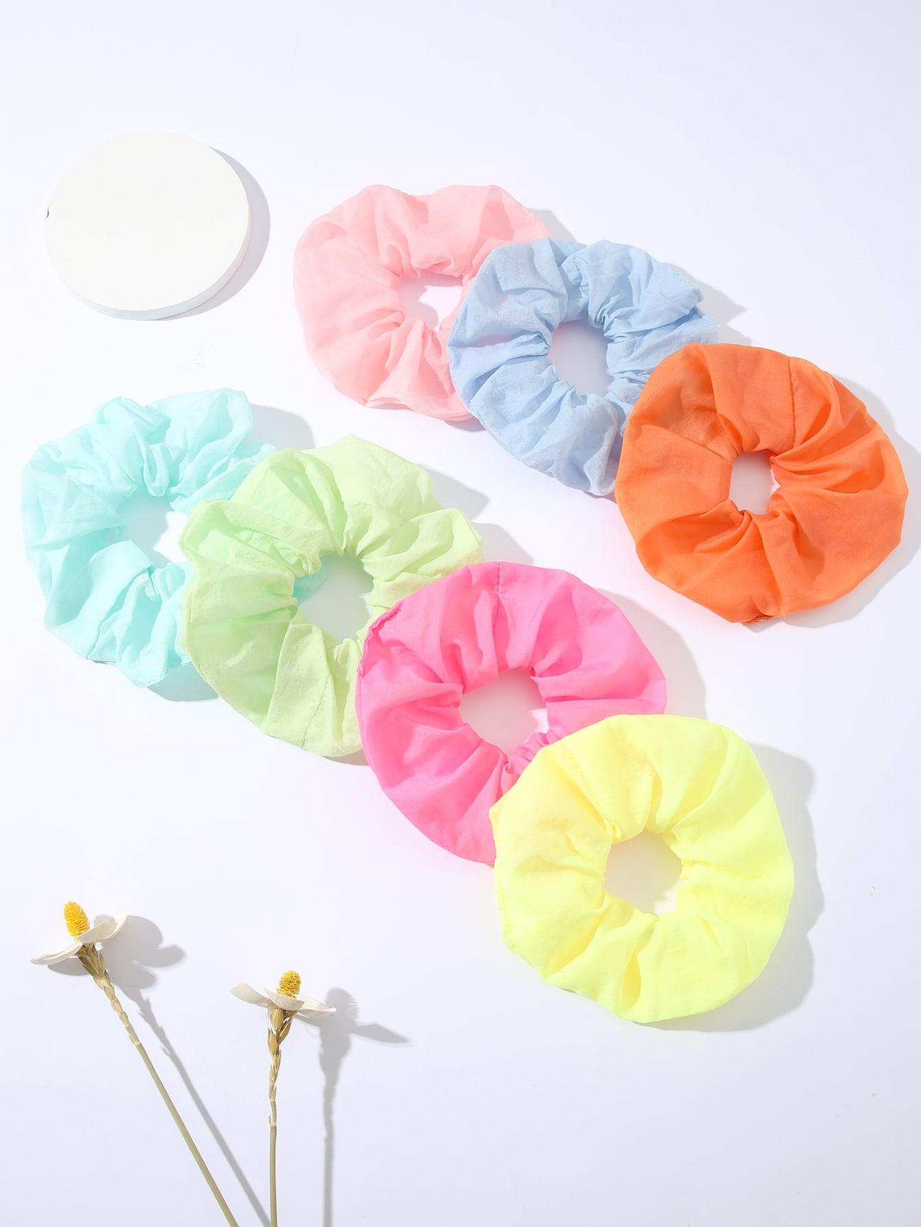 7pcs solid scrunchies