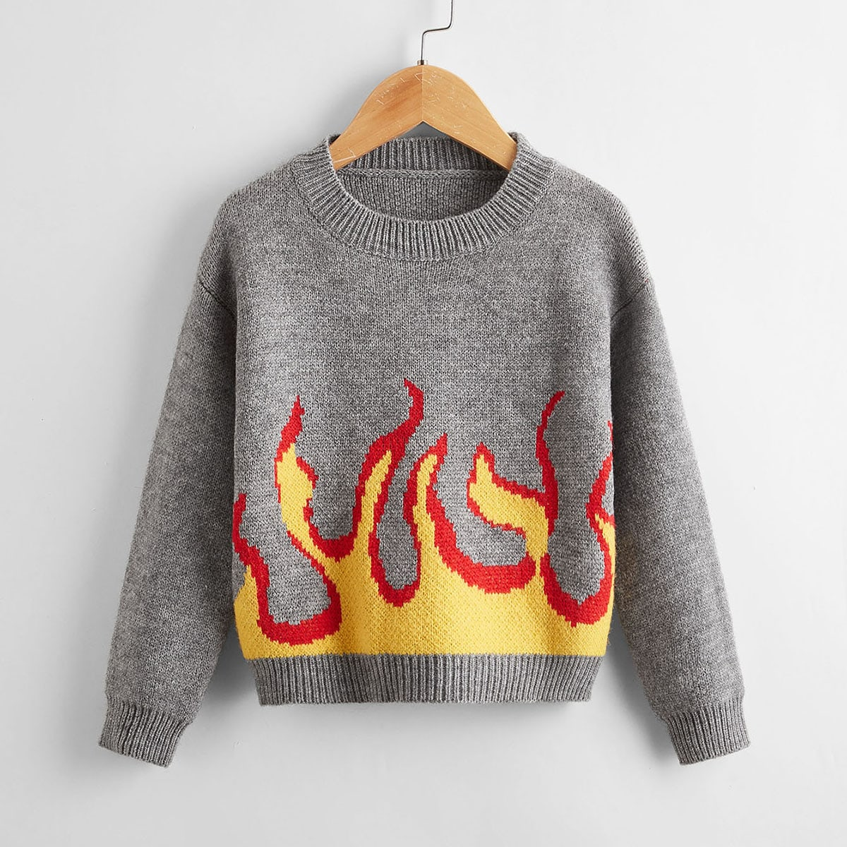 Boys Fire Pattern Drop Shoulder Sweater, SHEIN  - buy with discount