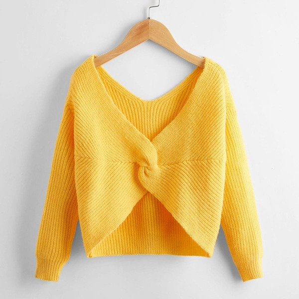 Girls Solid Twist Ribbed Knit Sweater, Yellow