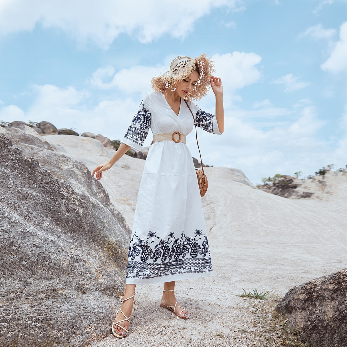 Paisley Print Wrap A-line Dress Without Belted, SHEIN  - buy with discount