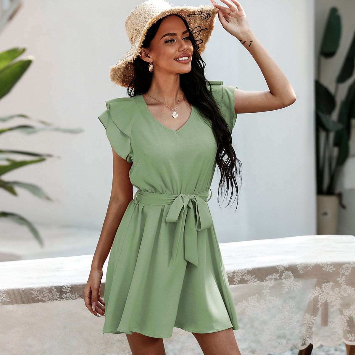 Solid Butterfly Sleeve Belted A-line Dress, SHEIN  - buy with discount