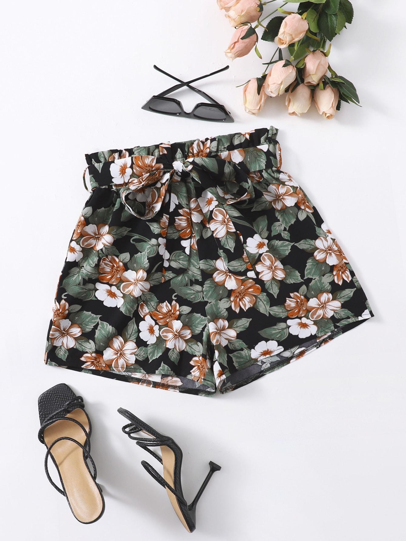 Floral Print Paper Bag Waist Belted Shorts