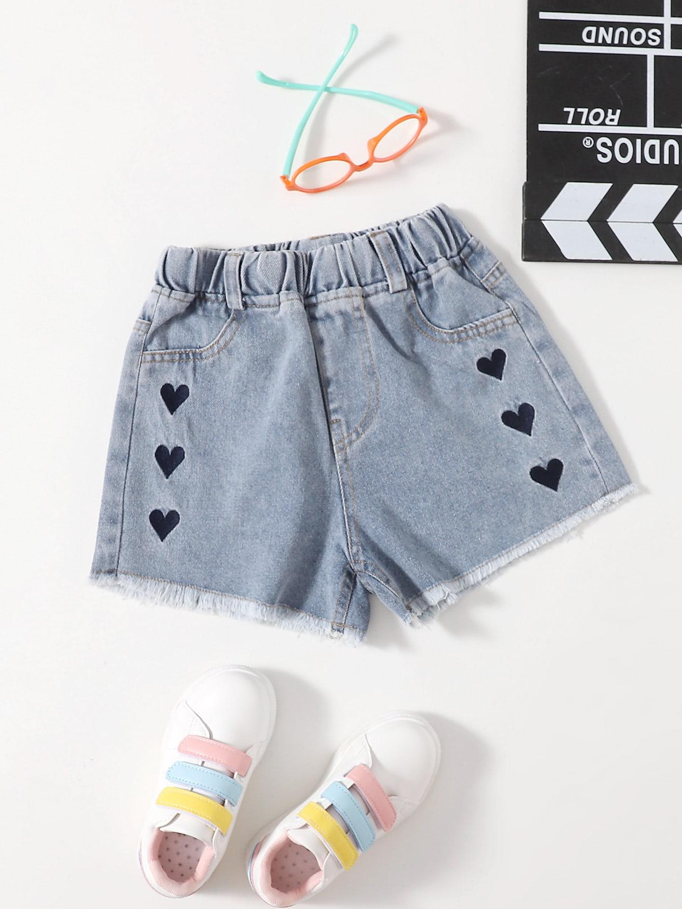 Girls Heart Embroidery Raw Hem Denim Shorts