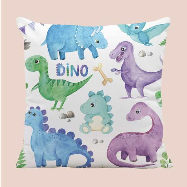 Kids Dinosaur Print Cushion Cover Without Filler, Multicolor