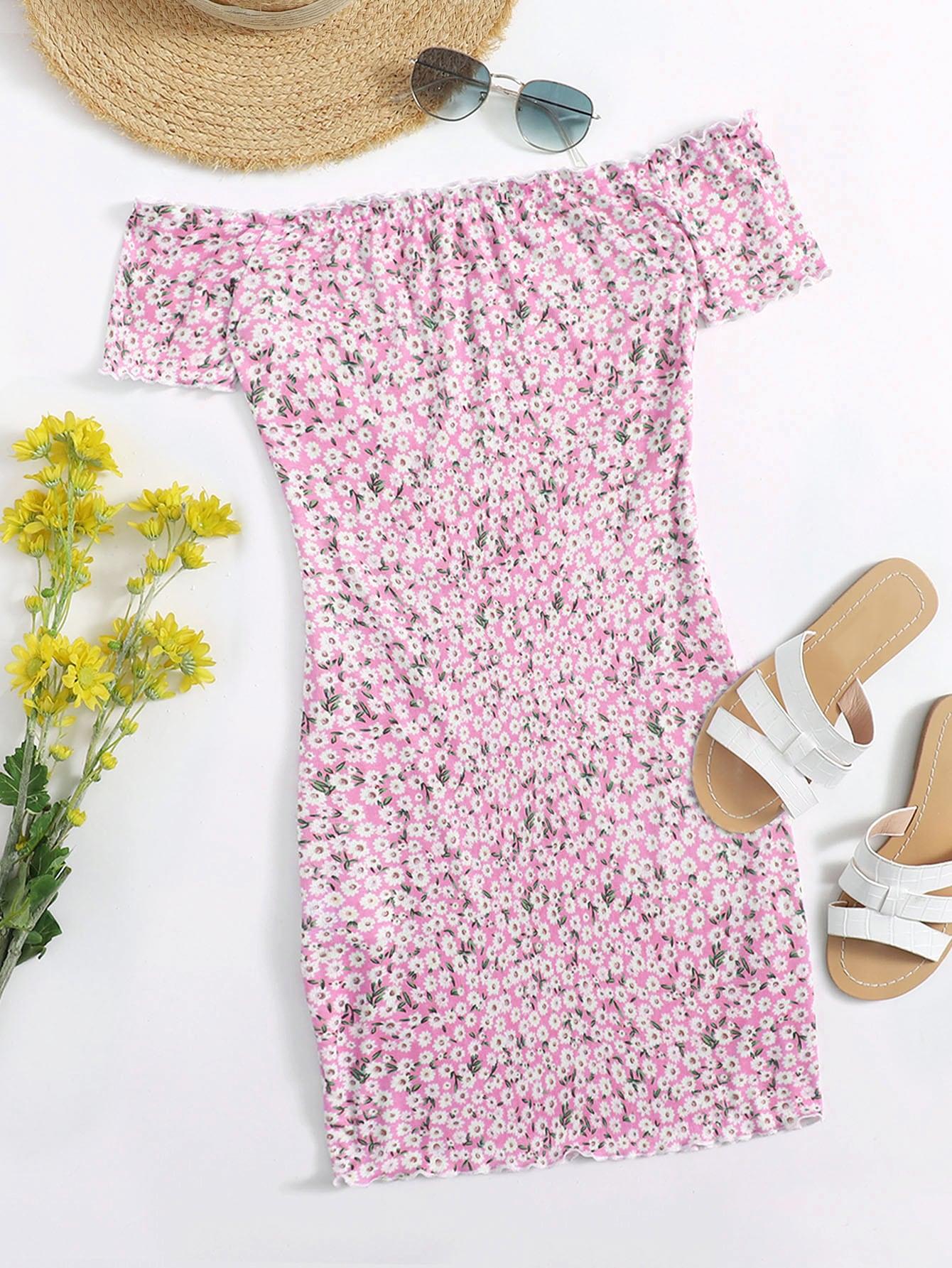 ditsy floral print off shoulder lettuce edge dress