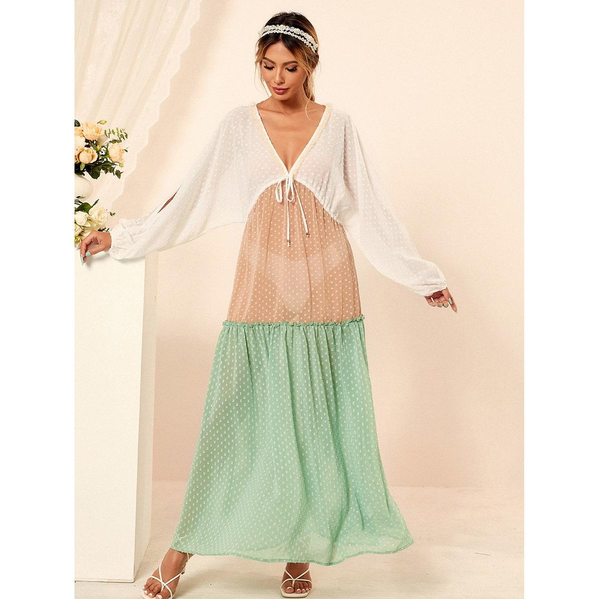 Платье в горошек комбинированным принтом SheIn swdress44210428163
