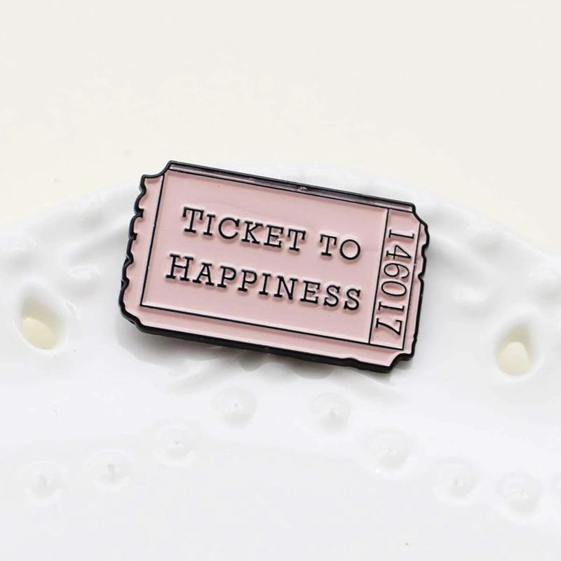1pc Slogan Brooch, Baby pink