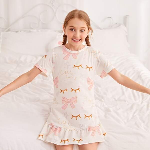 Toddler Girls Bow And Slogan Print Ruffle Hem Night Dress, White
