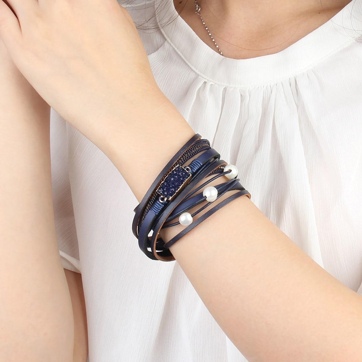 Faux Pearl Decor Layered Bracelet