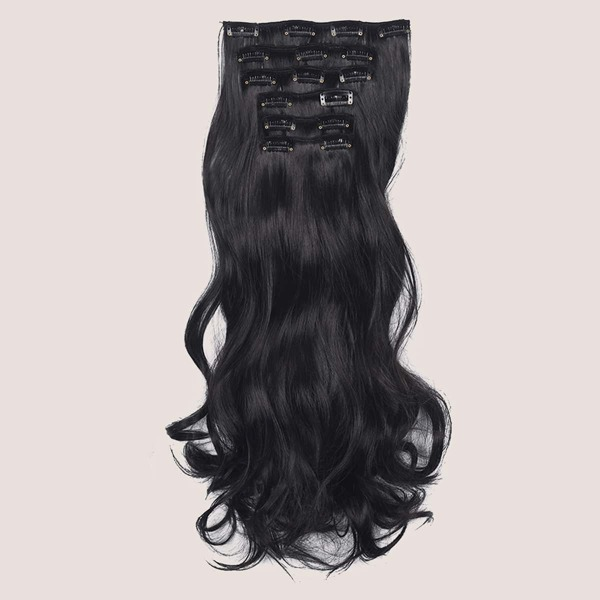 16pcs Clip In Long Curly Hairpiece, Brown