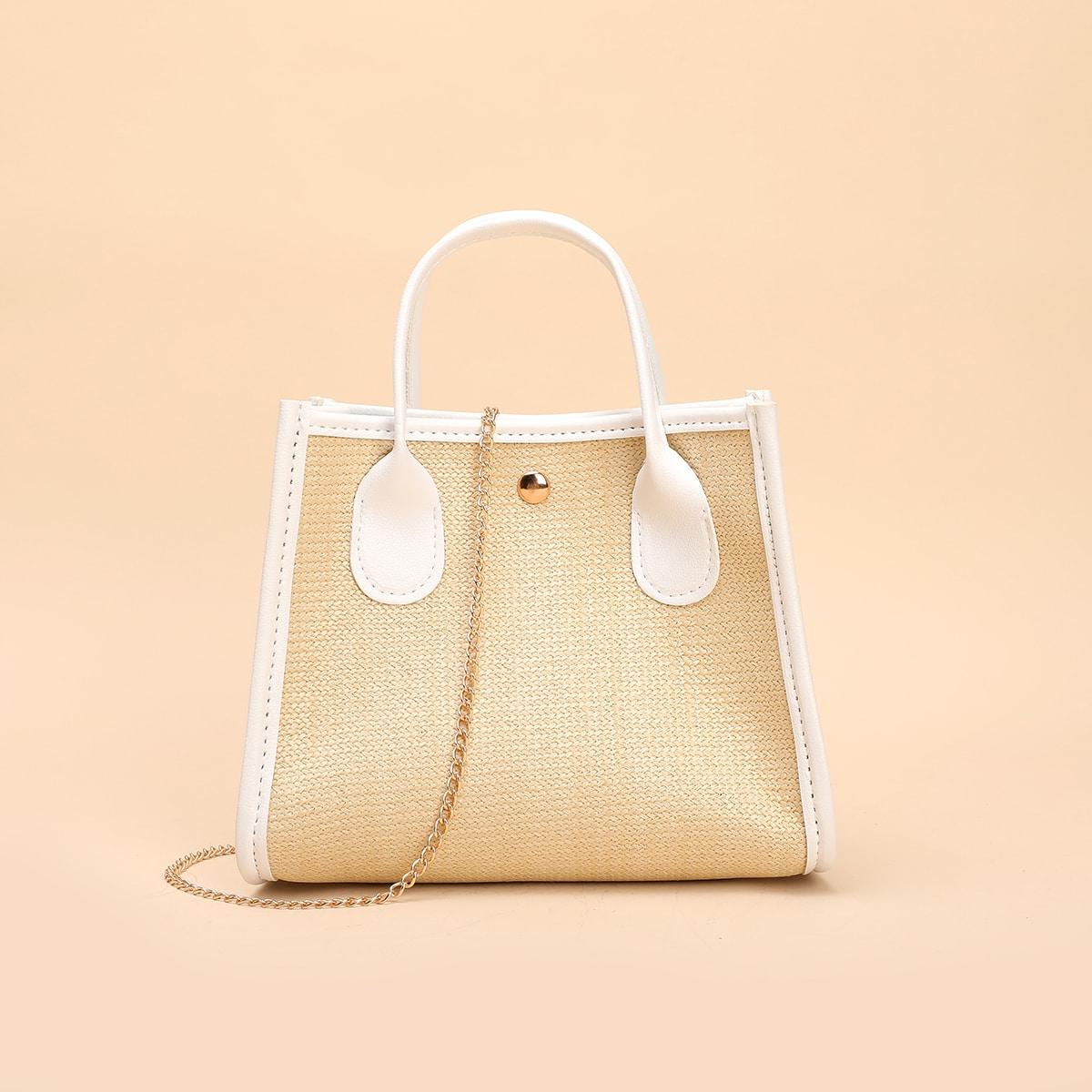 Двухцветная сумка-сэтчел с цепочкой