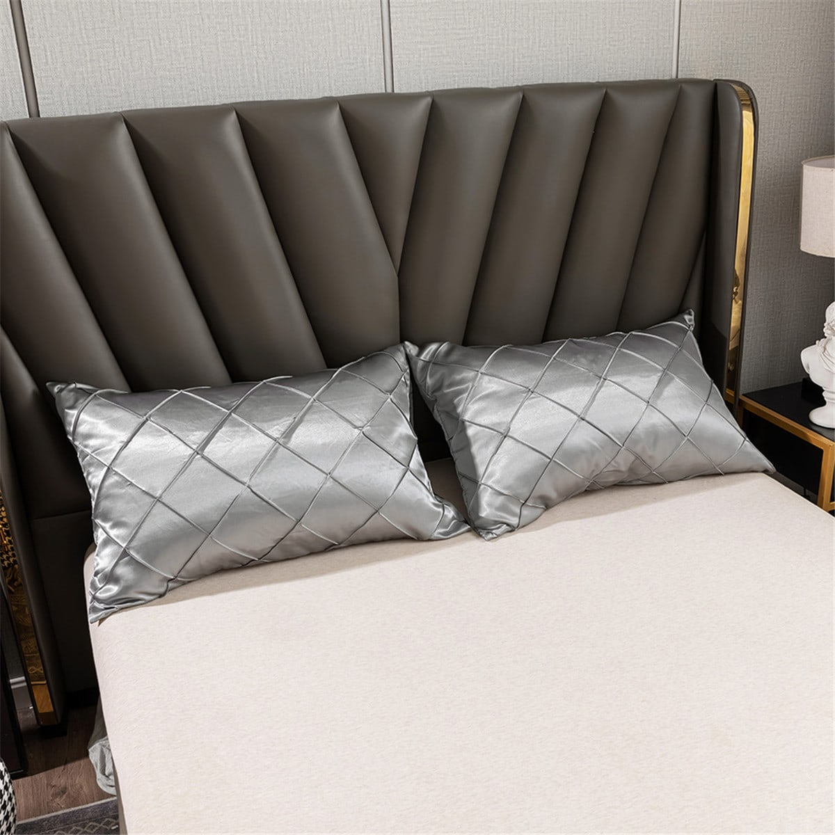 1Pair Solid Color Satin Pillowcase Without Filler
