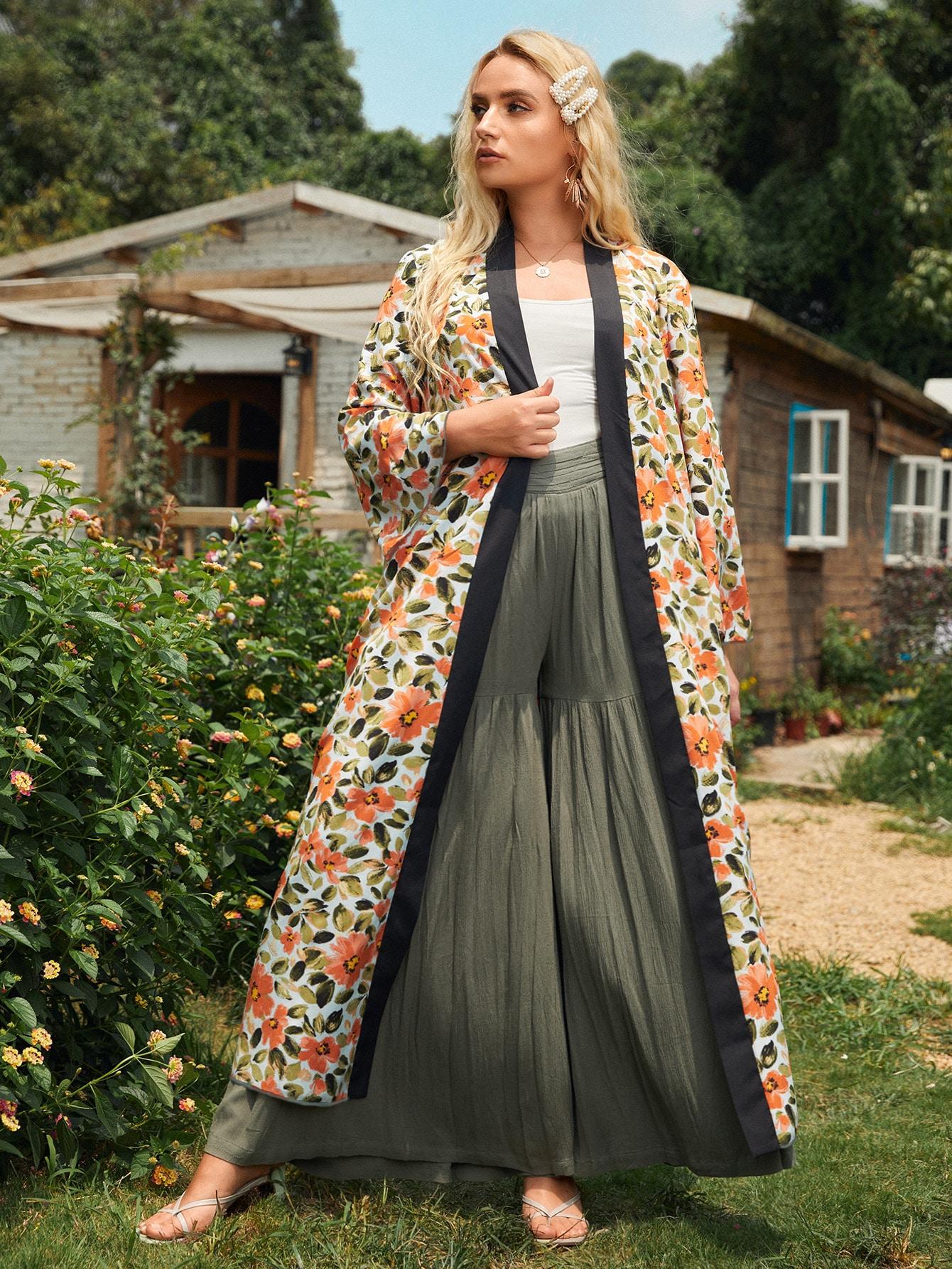 Plus Floral Overlay Print Open Front Kimono