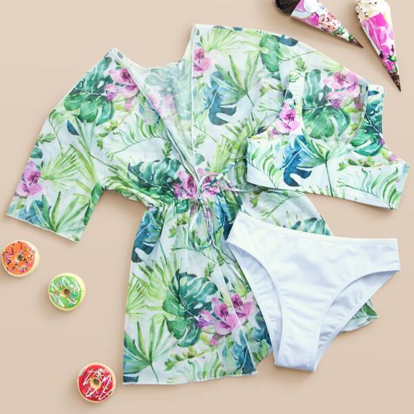 3pack Girls Tropical Print Bikini Swimsuit & Kimono, Multicolor