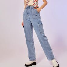 Button Fly Cargo Jeans