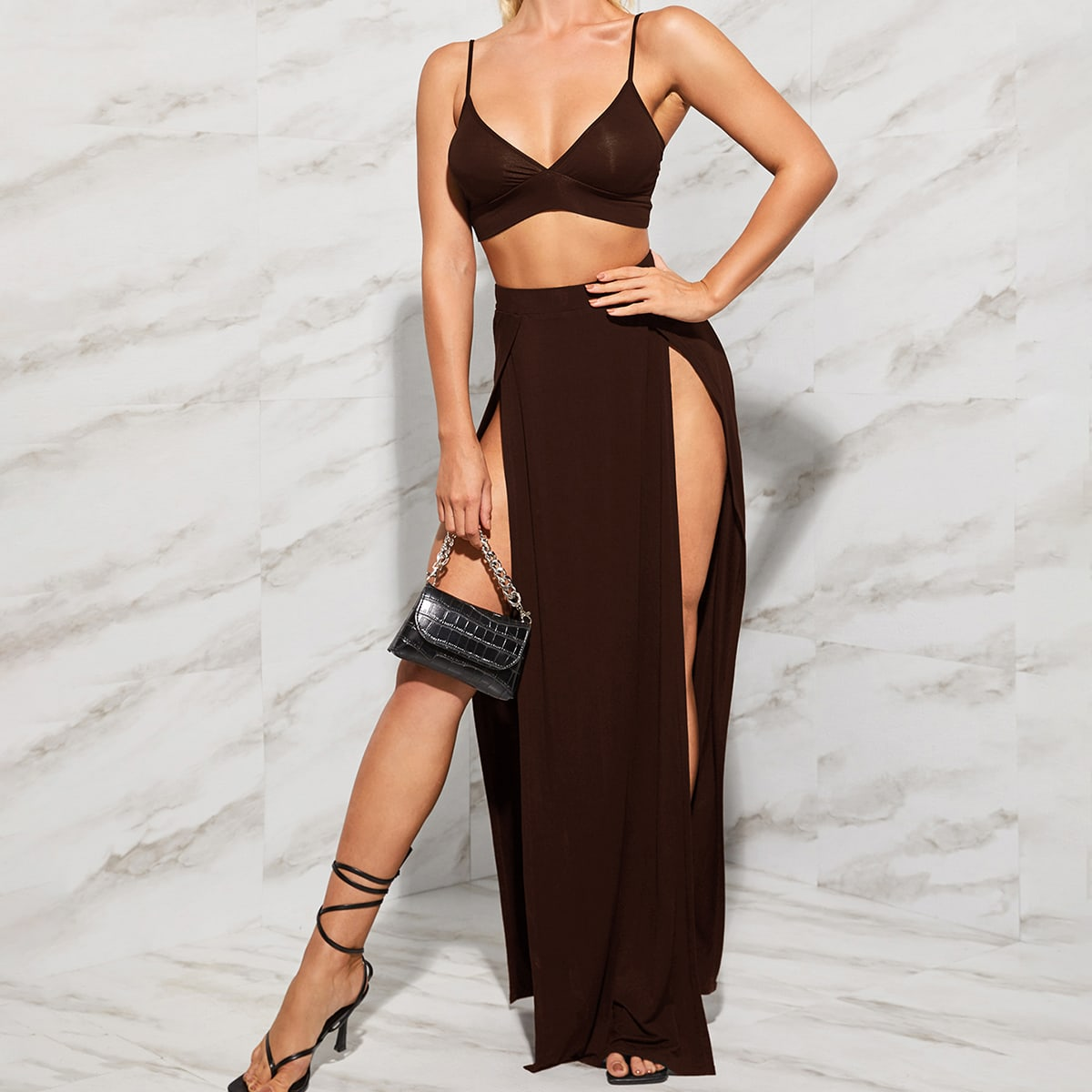 Однотонный топ и юбка с высоким разрезом SheIn swtwop07210507627