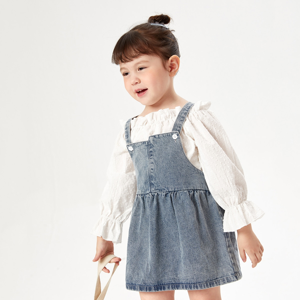 для девочек 1шт Джинсовое платье бантом сзади SheIn skdress25210511774