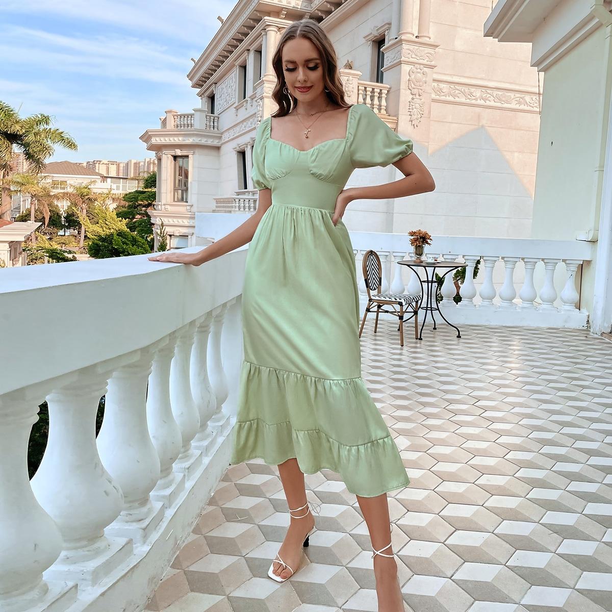Платье с глубоким декольте с оборками SheIn swdress02210507382