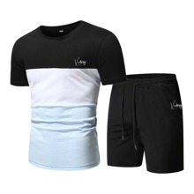 Guys Color-block Letter Graphic Tee & Drawstring Track Shorts