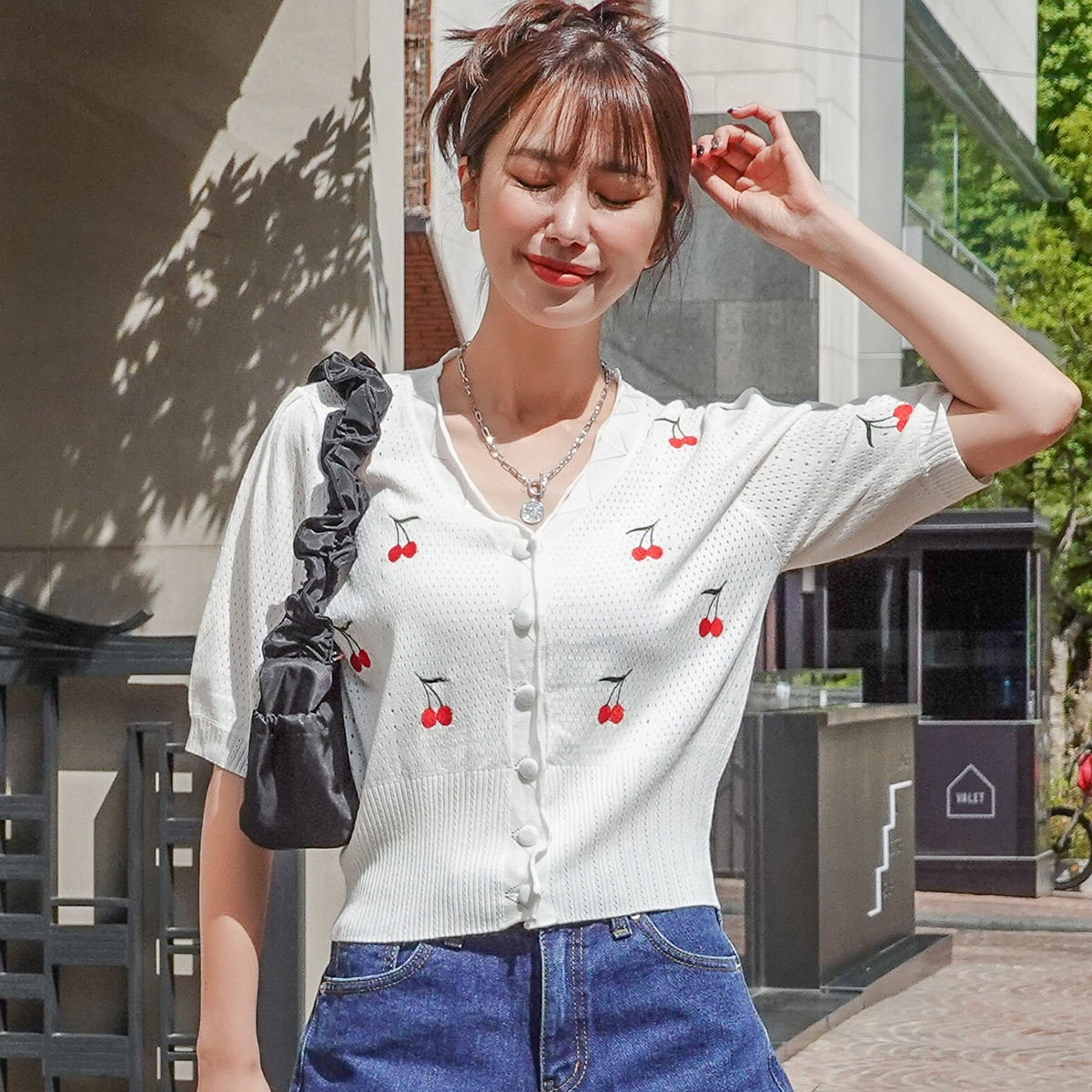 Cherry Embroidery Button Front Crop Cardigan