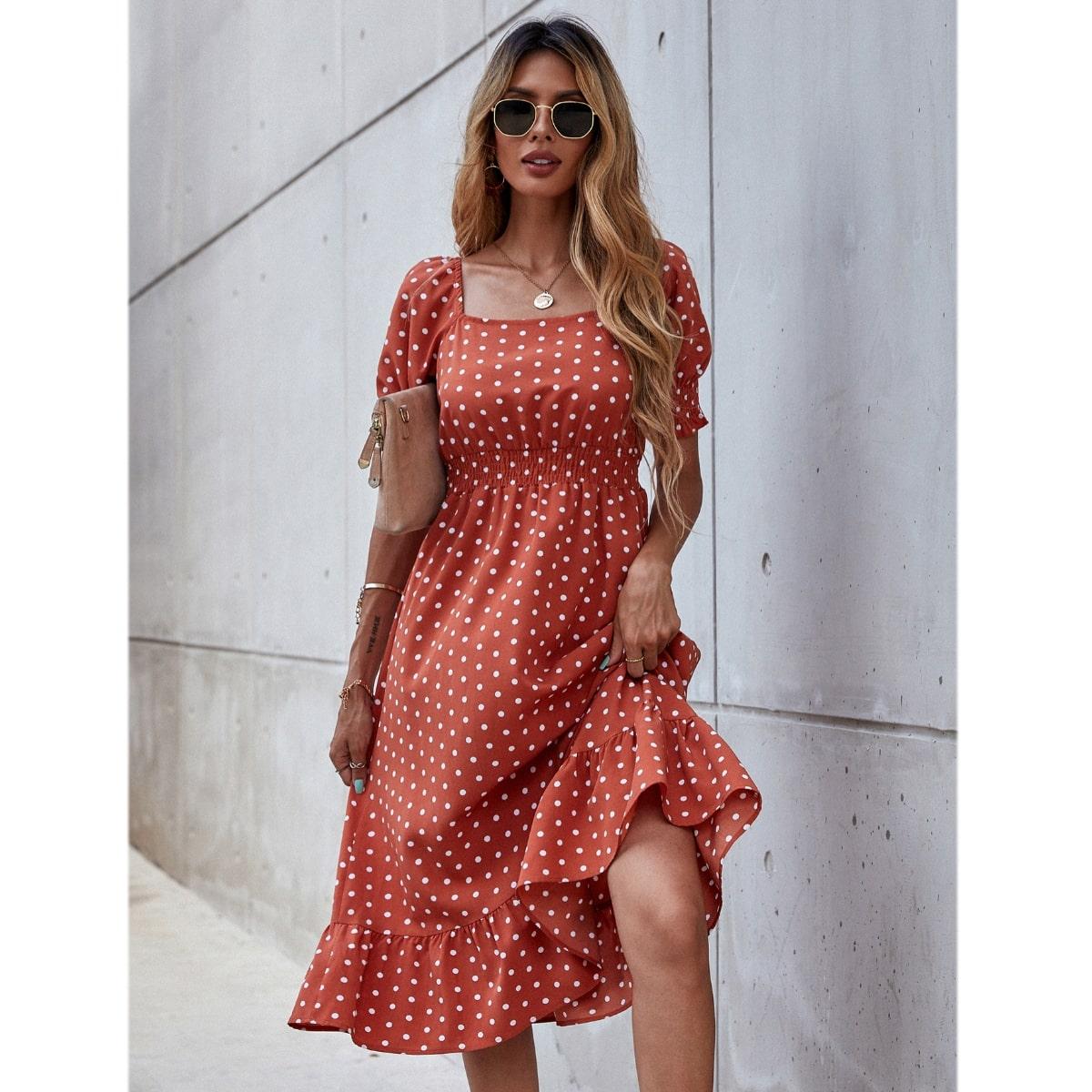 Платье в горошек SheIn swdress23210318963