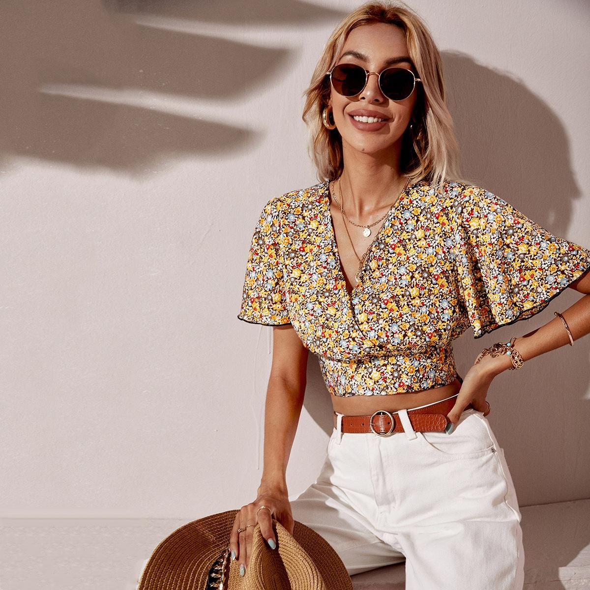 Короткая блуза с цветочным принтом с рукавами-бабочками узлом сзади SheIn swblouse23210520241