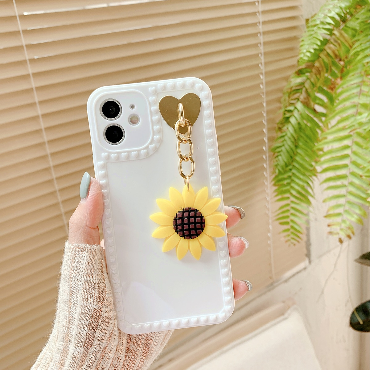 Solid Phone Case With Sunflower Pendant