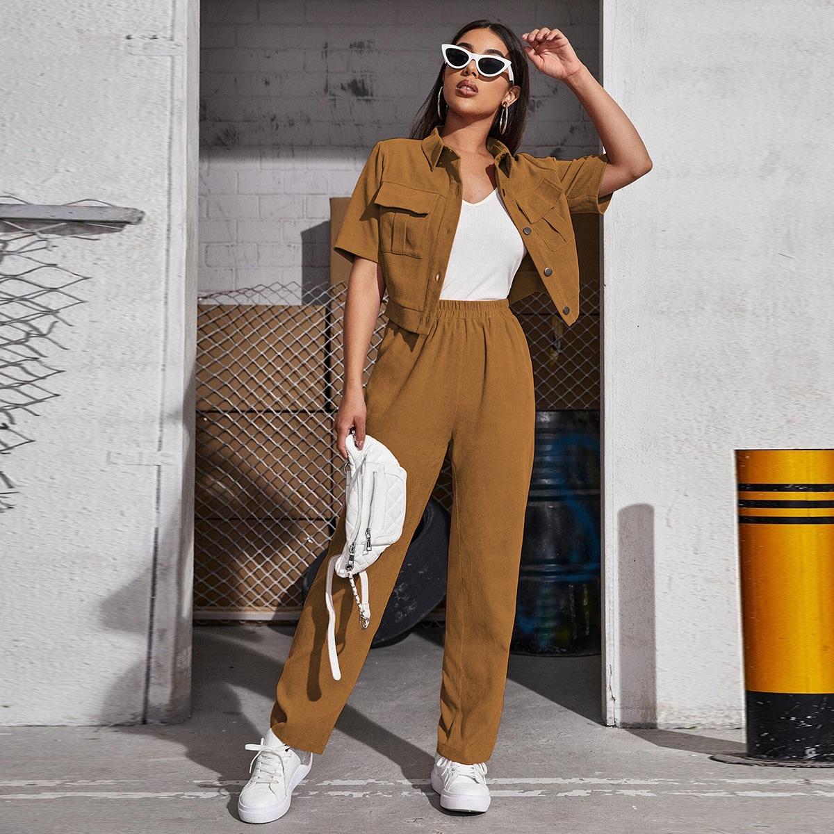 Вельветовая блузка с карманом и брюки SheIn swtwop25210331337