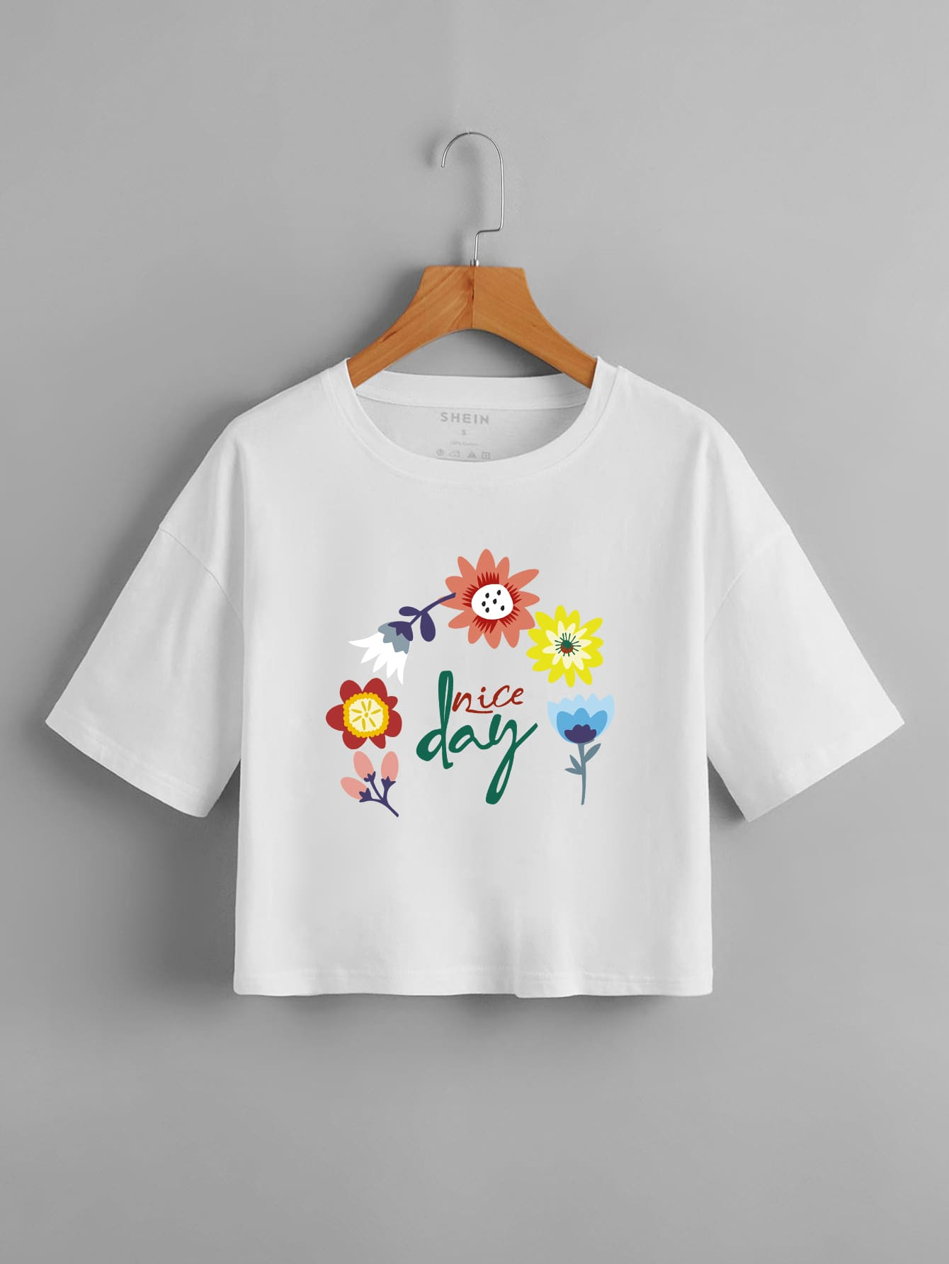 Floral & Letter Graphic Crop Tee