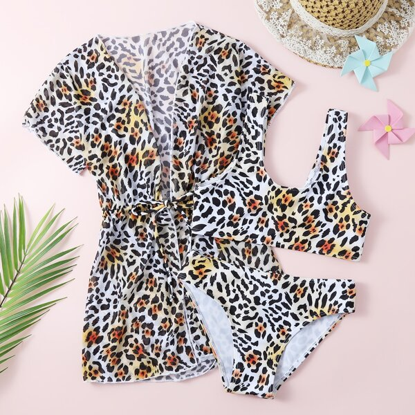 3pack Girls Leopard Bikini Swimsuit & Kimono, Multicolor