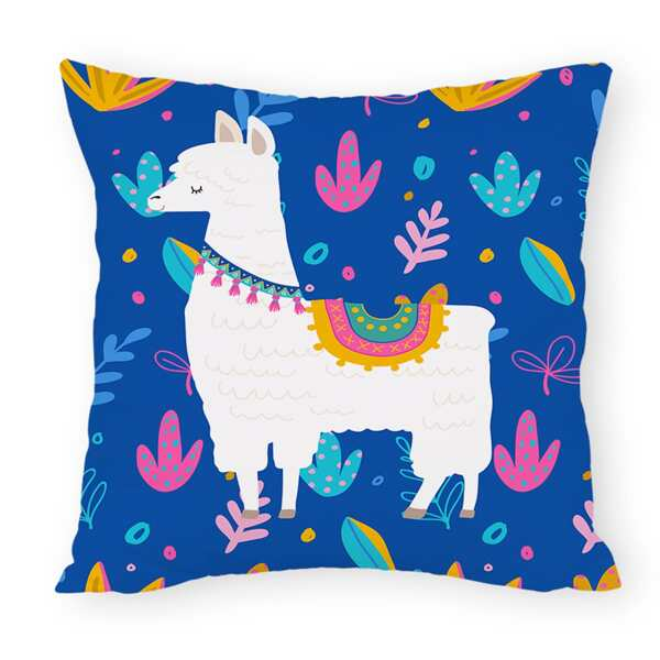 Alpaca Print Cushion Cover Without Filler, Multicolor