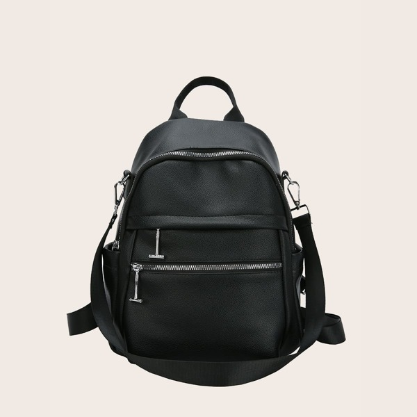 Zip Front Backpack With Detachable Strap, Black