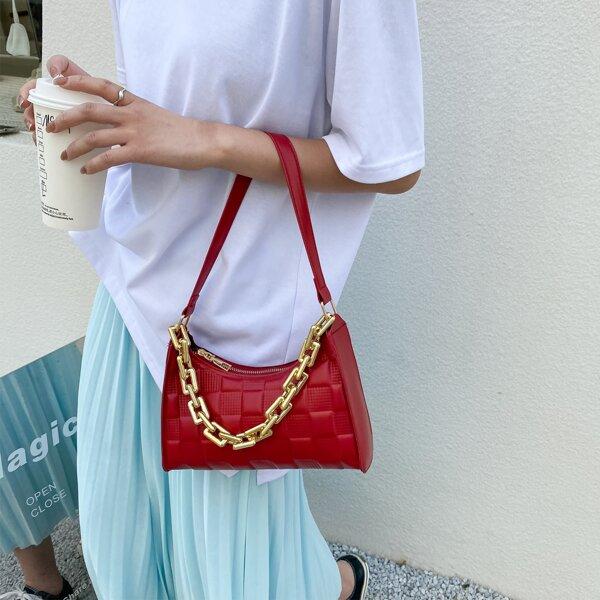 Minimalist Textured Chain Shoulder Bag, Red
