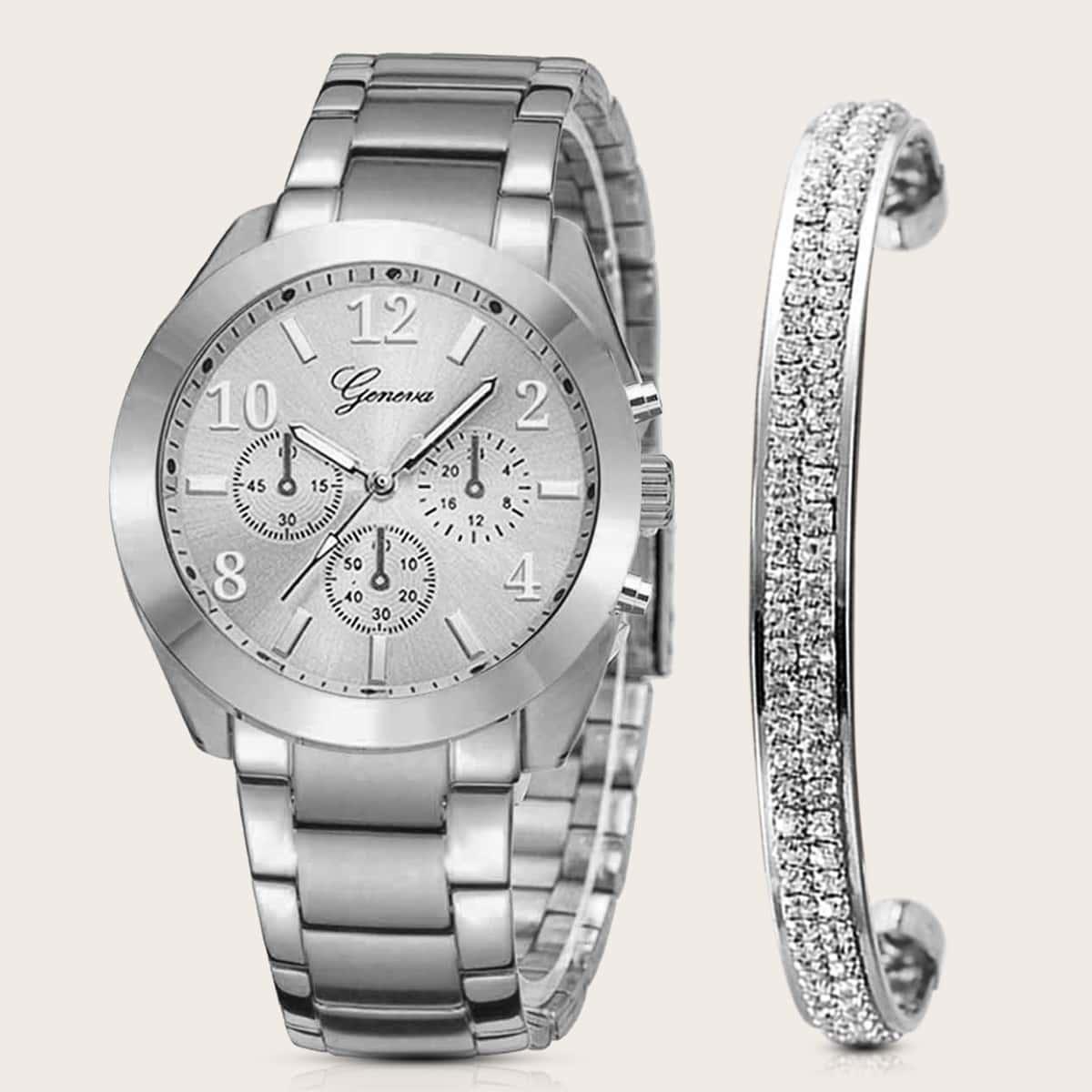 1pc Triple Dial Quartz Watch & 1pc Bracelet