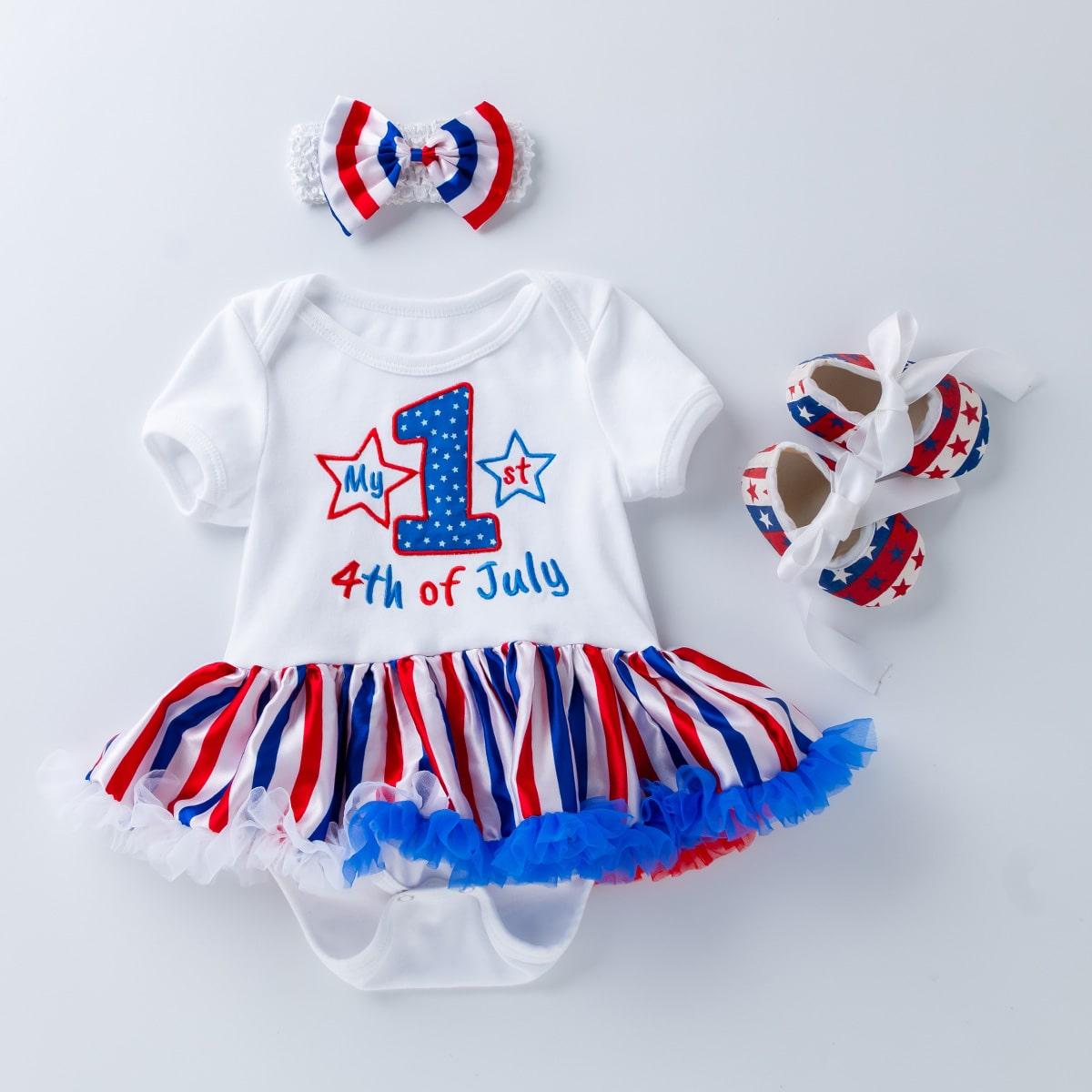 Платье с принтом 4 июля, повязка на голову и обувь для девочек от SHEIN