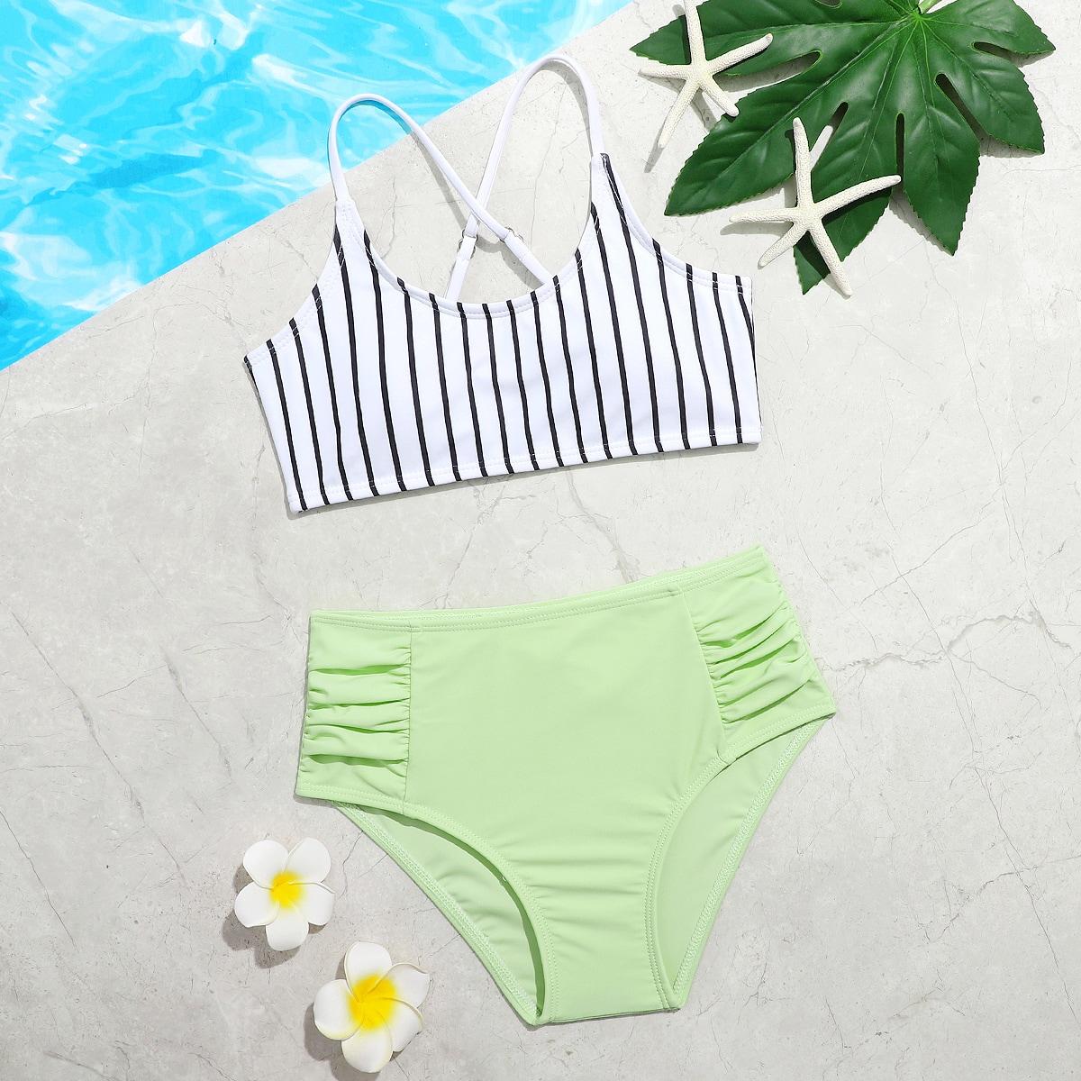 Girls Striped Ruched Bikini Swimsuit