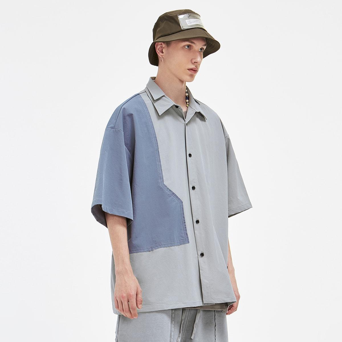 Мужской Рубашка на пуговицах Контрастный