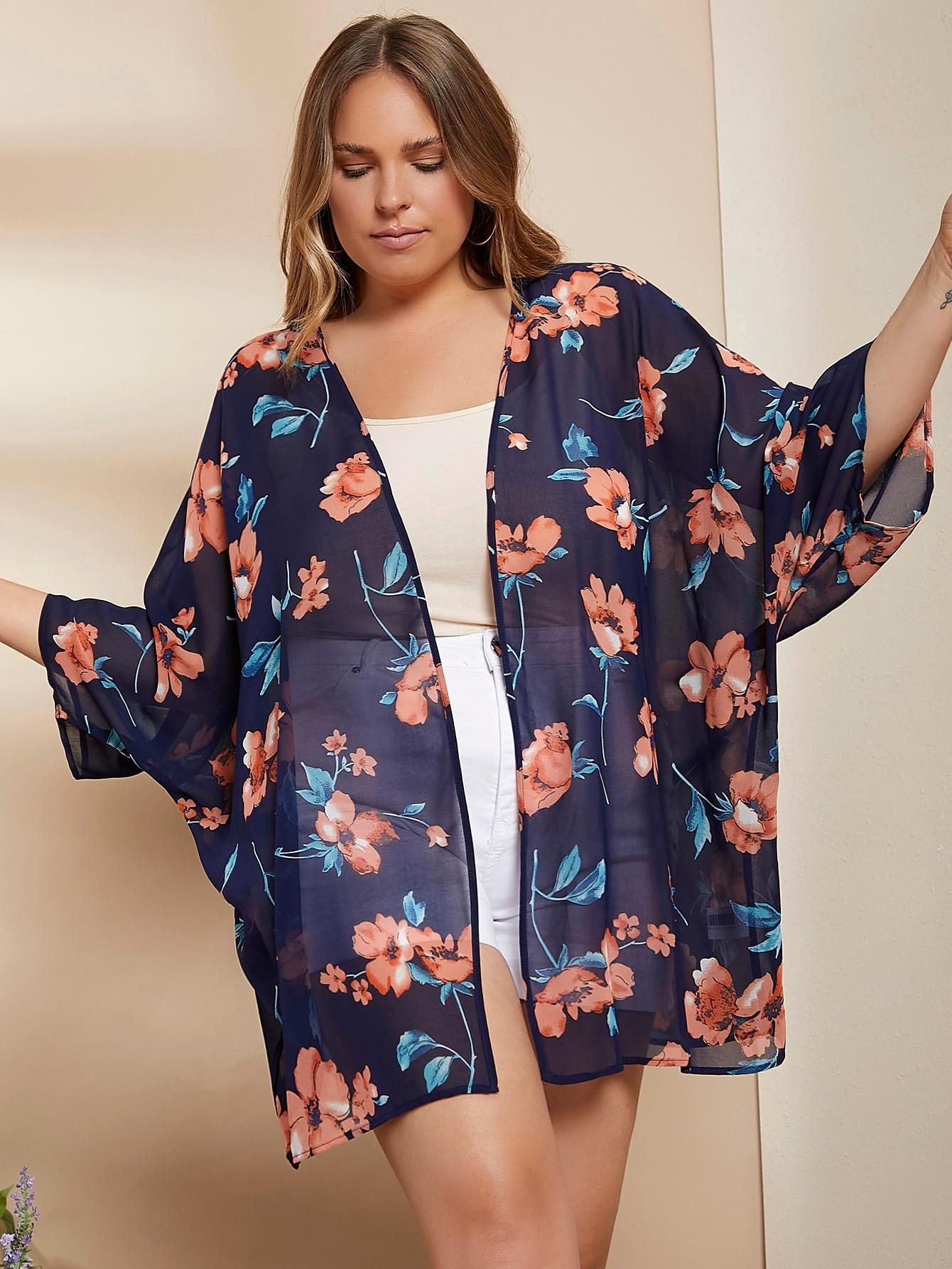 Plus Open Front Floral Kimono