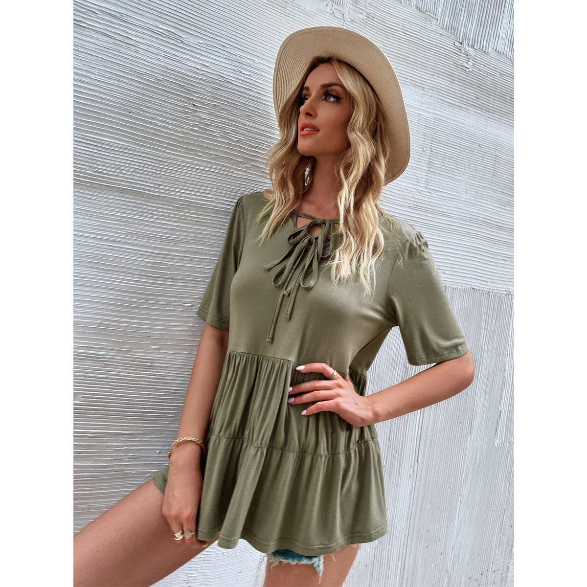 Lace Up Ruffle Hem Tee, SHEIN  - buy with discount